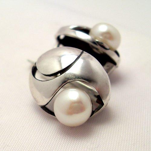 Náušnice «Břízový vítr» - bílá perla, stříbro