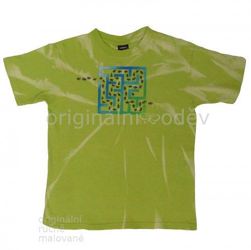 Malované tričko dětské - bludiště - zelené