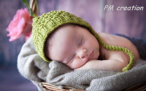 Čepička na focení miminek- bonetka zelená