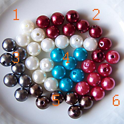 perly voskové/ růžová č.6/ 10mm/ 12ks