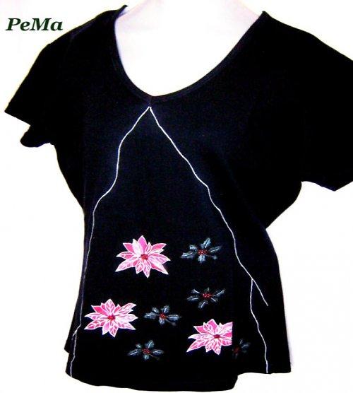 Malované tričko s květinovým motivem - modré