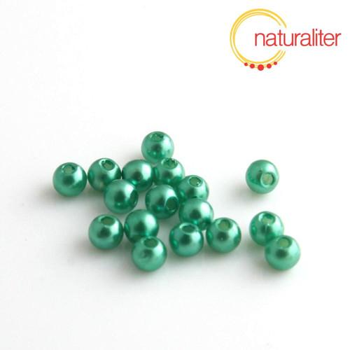 Voskované perly, zelené, 4mm, 100ks