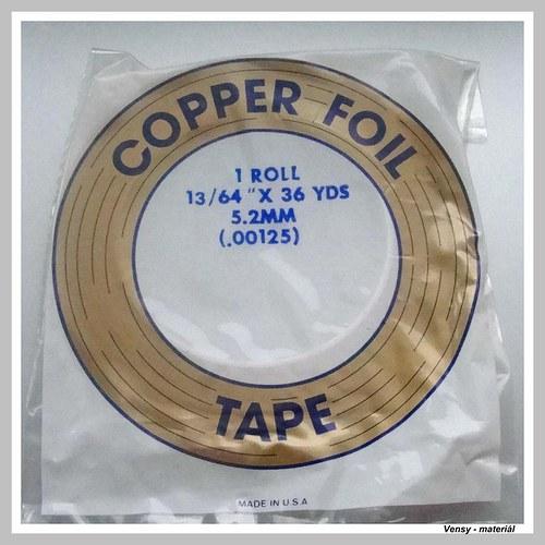 Páska tiffany měděná 5,2 mm rub černý