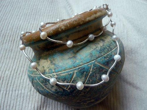 Náhrdelník s bílými říčními perlami Ag 925/1000
