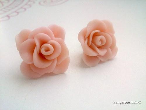 Růžičky - náušnice pecky z polymer. hmoty