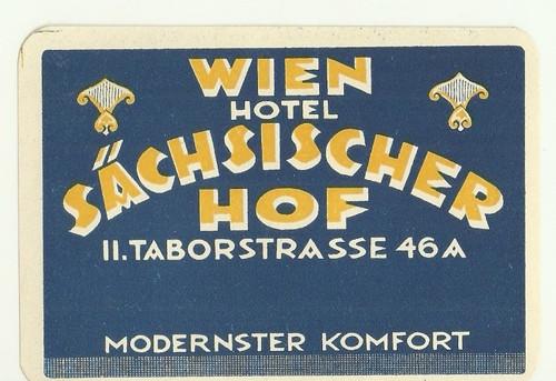 Hotelové nálepky Wien Sachsischer