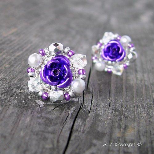 Náušničky Purple Rose II...