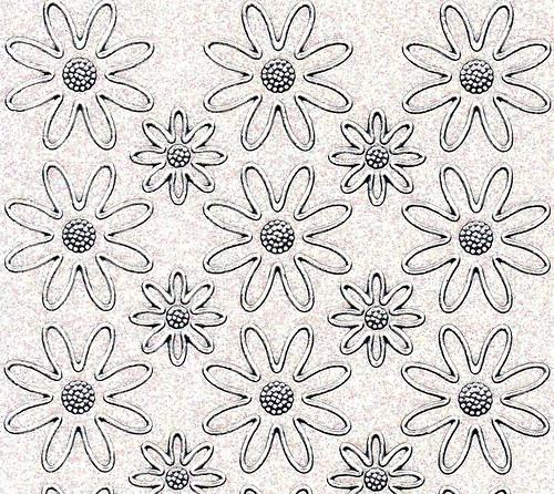 Samolepící kontury květiny bílé třpytivé