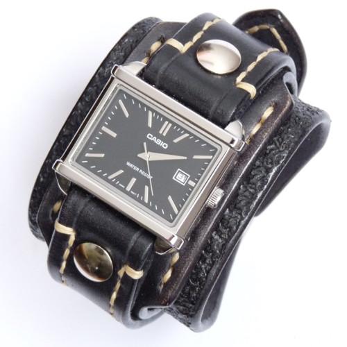 Černé pánské hodinky CASIO, pravá kůže