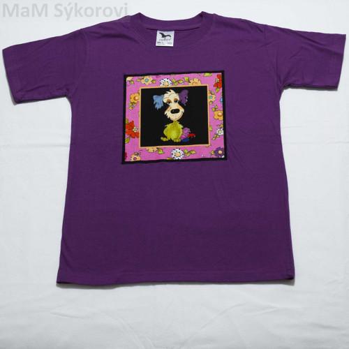 Tričko s originální aplikací malovaný pes v.134