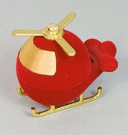 Sametová krabička na šperky - červená helikoptéra