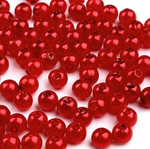 Voskované plast.perličky, červená, 4mm (100ks)