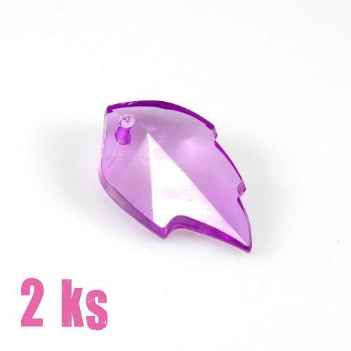 Světle fialový lístek - plastový přívěsek, 2 ks