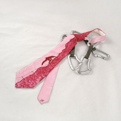 Hedvábná kravata (nejen) pro horolezce - do růžova