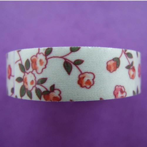 Samolepicí textilní páska 15mm květinový motiv