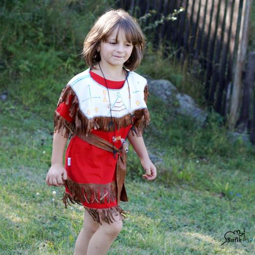 Indiánské šaty červené skladem vel. 122/128
