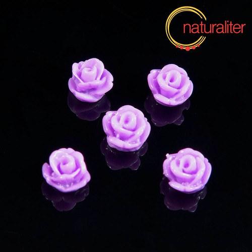 Růžička - kabošon z pryskyřice 7mm, fialová, 10ks