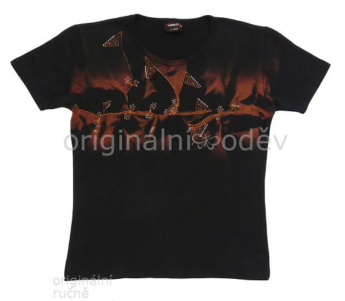 SLEVA: Malované tričko dámské - tmavomodré