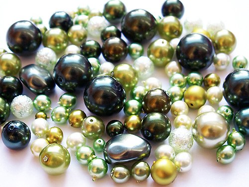Voskové perle - zelená směs