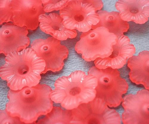 Akrylová květina červená, 11mm - 10ks