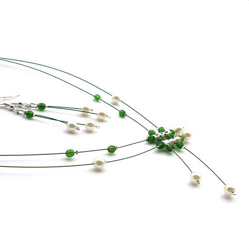 Zelenobílý deštík - náhrdelník