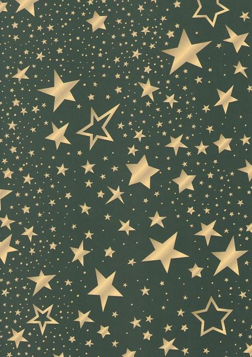 Fotokarton A4 hvězdy mix zelené