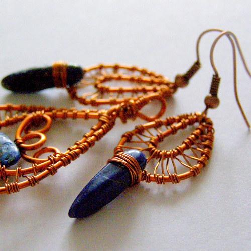 Lapis lazuli a měď - náušnice