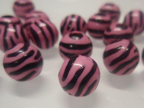 19472 Korálky zebra kulaté růžovo/černé bal.10ks