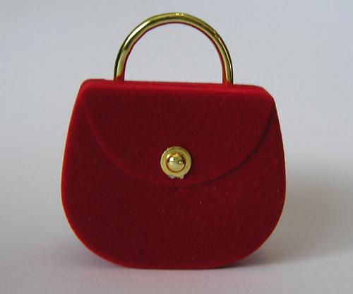 Sametová krabička na šperky - červená taška