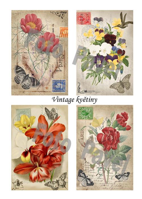 Vintage  motivy - květiny - papírové