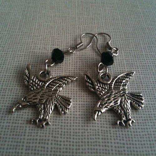 Antické stříbro náušnice orli