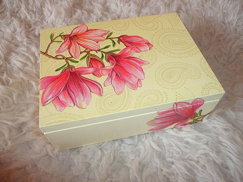 Krabička na čaj - 6 přihrádek - magnolie