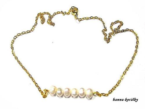Náhrdelník - řetízek s řadou perel