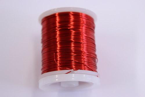 Měděný drátek 0,5mm - červený, návin 19-21m