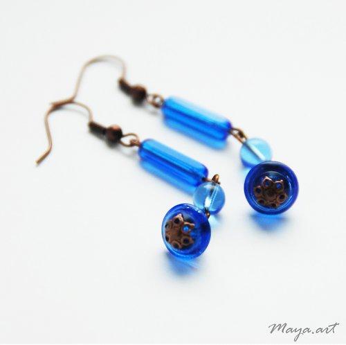 Modré náušnice s kaplíky - SLEVA ze 72!