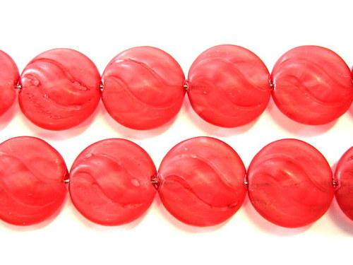 0300939/Placička s vlnkami červená mat, 6 ks