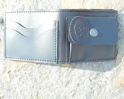 Kožená steampunková peněženka Lebka