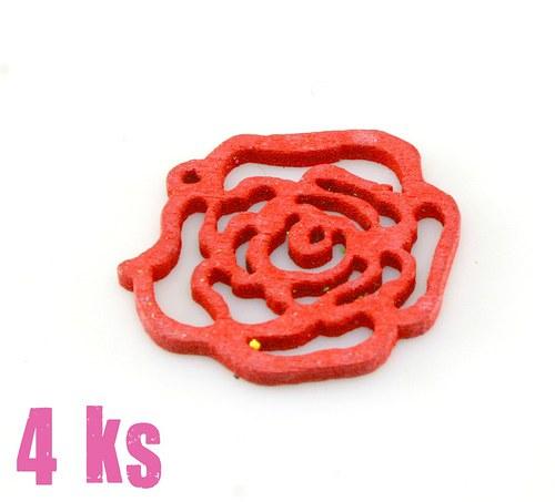 Dřevěný přívěsek - malá červená růže, 4 ks