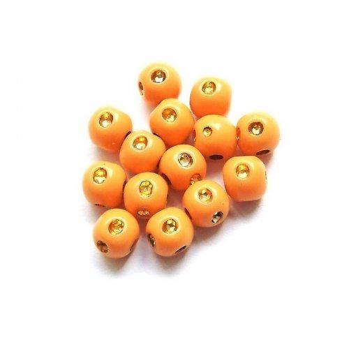 Plastové perličky s kamínky  - oranžové