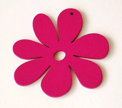 dřevěné kytičky- sytě růžová
