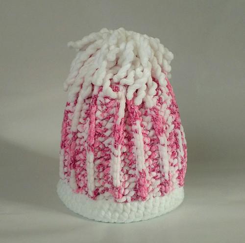Dětská čepice - žíhaná, růžovobílá