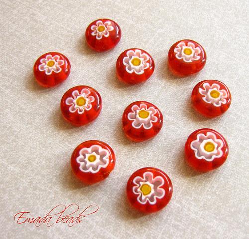 Millefiori, červená