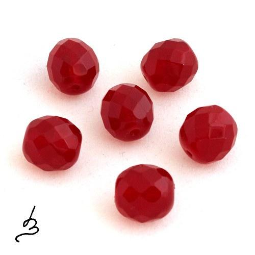 Broušené červené, 12 mm - 6 ks