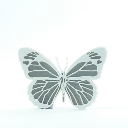 Motýlek silver/traffic white