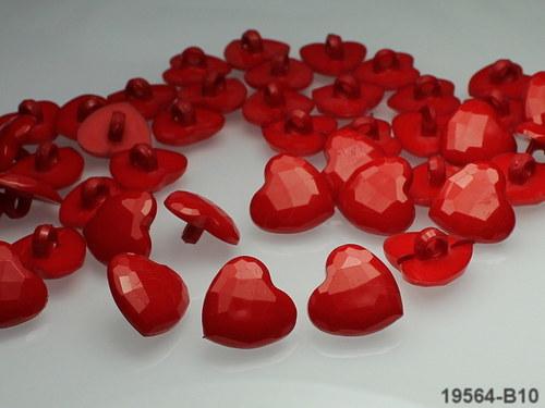 19564-B10-1 Knoflík SRDCE červené 14/14, á 1ks