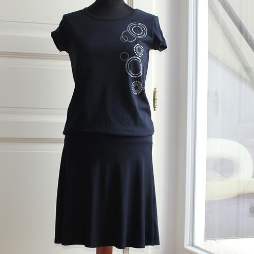 """Šaty s ručním potiskem \""""Kruhy\"""" vel. S"""