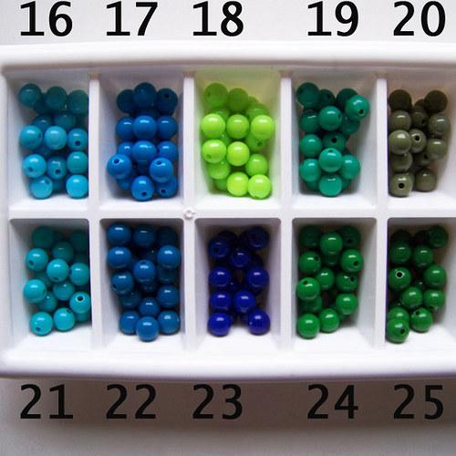 korálky akryl PONY / zelená sv. č.18 / 8mm / 12ks