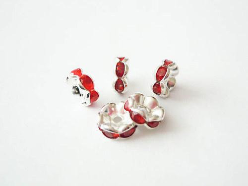 Šatonové rondelky červené 8mm 4ks