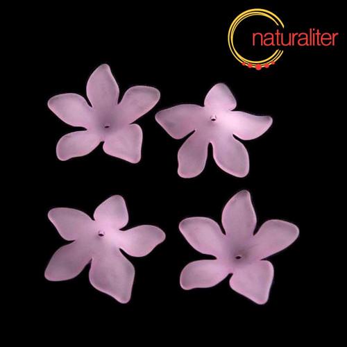 Květina akrylová - lilie 27mm světle fialová, 4ks