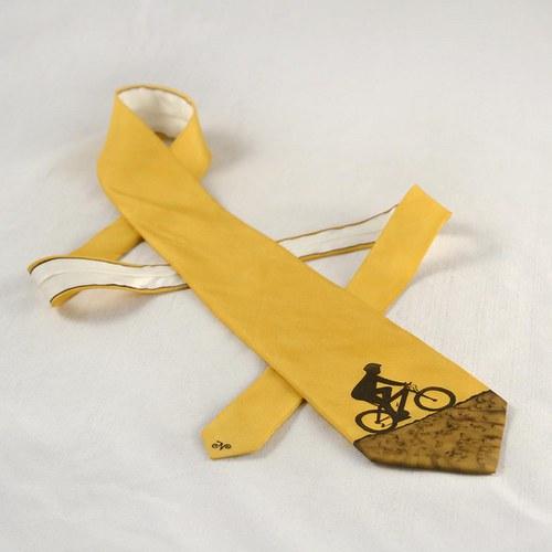 Hedvábná kravata s cyklistou hnědo-okrová